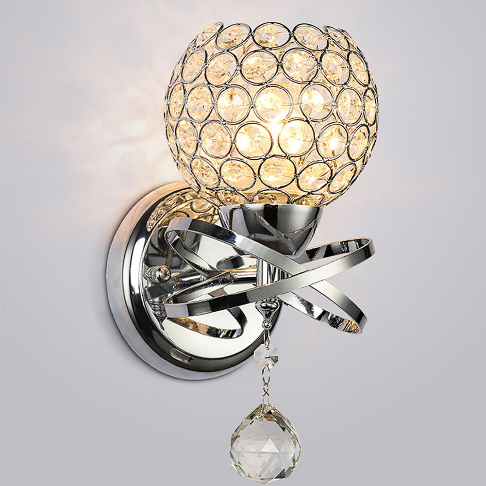 Axiwen Modern Style home lighting living room Wall Lamp Luxury Crystal Lampshade Pendant Wall Light Holder E14 Socket