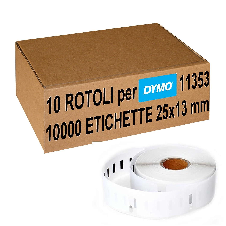 Confezione 10 Rotoli Etichette Adesive Compatibili Per Dymo 11353 25x13 mm (S0722530) 5 Stelle