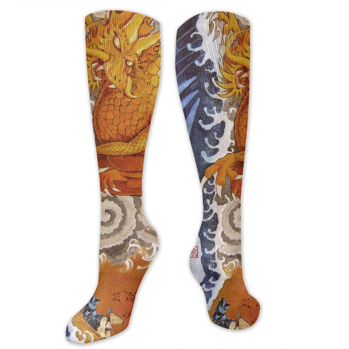 Chanwazibibiliu Japanese Mountain Sea Gold Dragon Mens Colorful Dress Socks Funky Men Multicolored Pattern Fashionable Fun Crew Cotton Socks