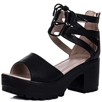 f60f88efbf4f LACE UP Cleated Sole Block Heel Sandals Shoes Black Leather Style SZ 3