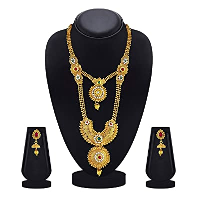 Buy KailasMegha Red & Green Kundan Gold Plated Opera Style Necklace ...