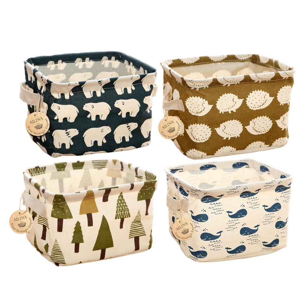 Ailina Small Baby Linen Storage Organizer Sets (Beige,Grey,Pink,Blue) Fabric Storage Basket Organiser with 2 Handles on Both Sides 20.5x17x15cm -Sets of 4 (Animals)