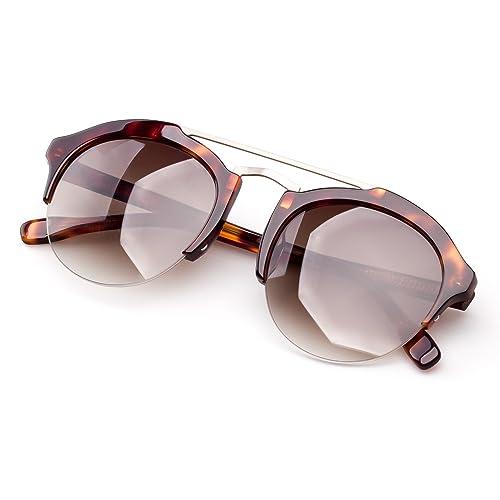 COLOSSEIN Verano Moda Gafas De Sol De Las Mujer Gafas Acetato Marco Redondas Gradiente HD Lentes UV400 Proteger