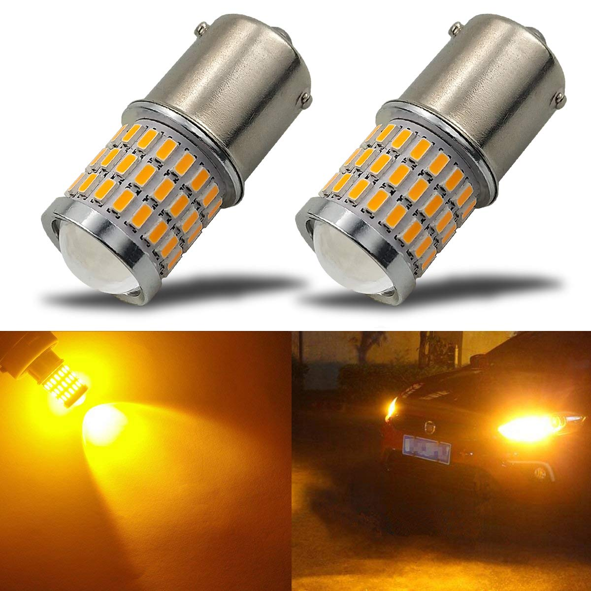 iBrightstar Newest 9-30V Super Bright Low Power 7507 PY21W BAU15S 2641A LED Bulbs with Projector replacement for Turn Signal Lights, Amber Yellow 7507-3014/3030-54/3Y