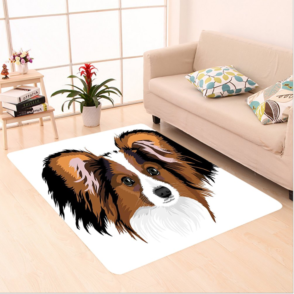 Nalahome Custom carpet l Decor Cute Smart Adorable Best Friend Dog Movie Pet Cartoon Artwork Image Cinnamon Black White area rugs for Living Dining Room Bedroom Hallway Office Carpet (6' X 9')