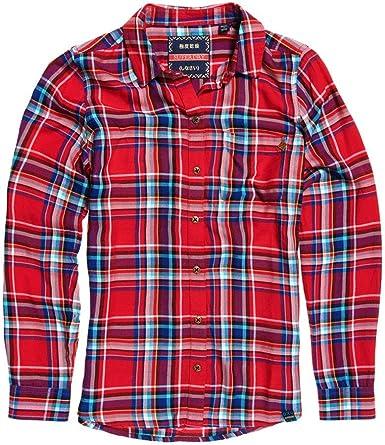 Superdry Camisa Anneka Check Rojo Mujer XL Rojo: Amazon.es: Ropa y accesorios
