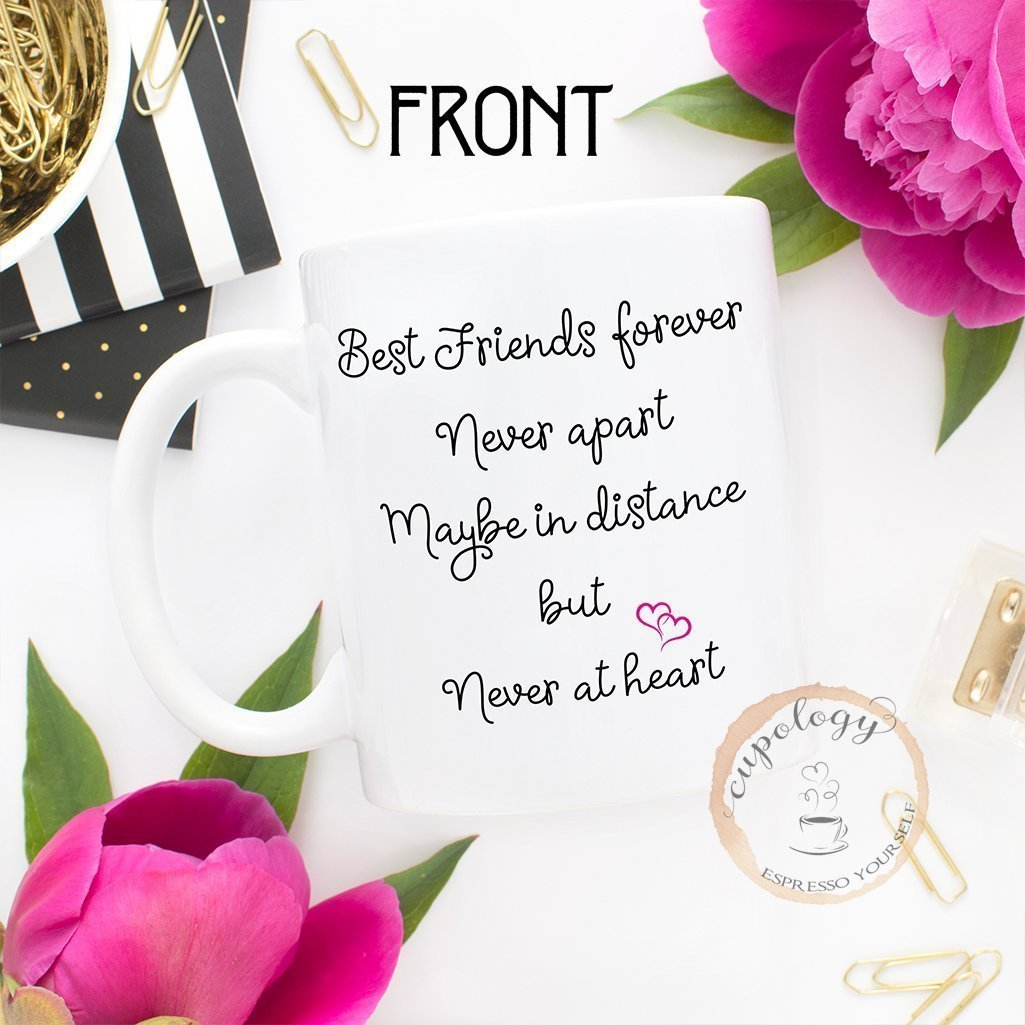 Best Friends Long Distance State Coffee Mug with Quote, Personalized, All States, Countries and Provinces, 11oz or 15oz by Cupology (Image #1)