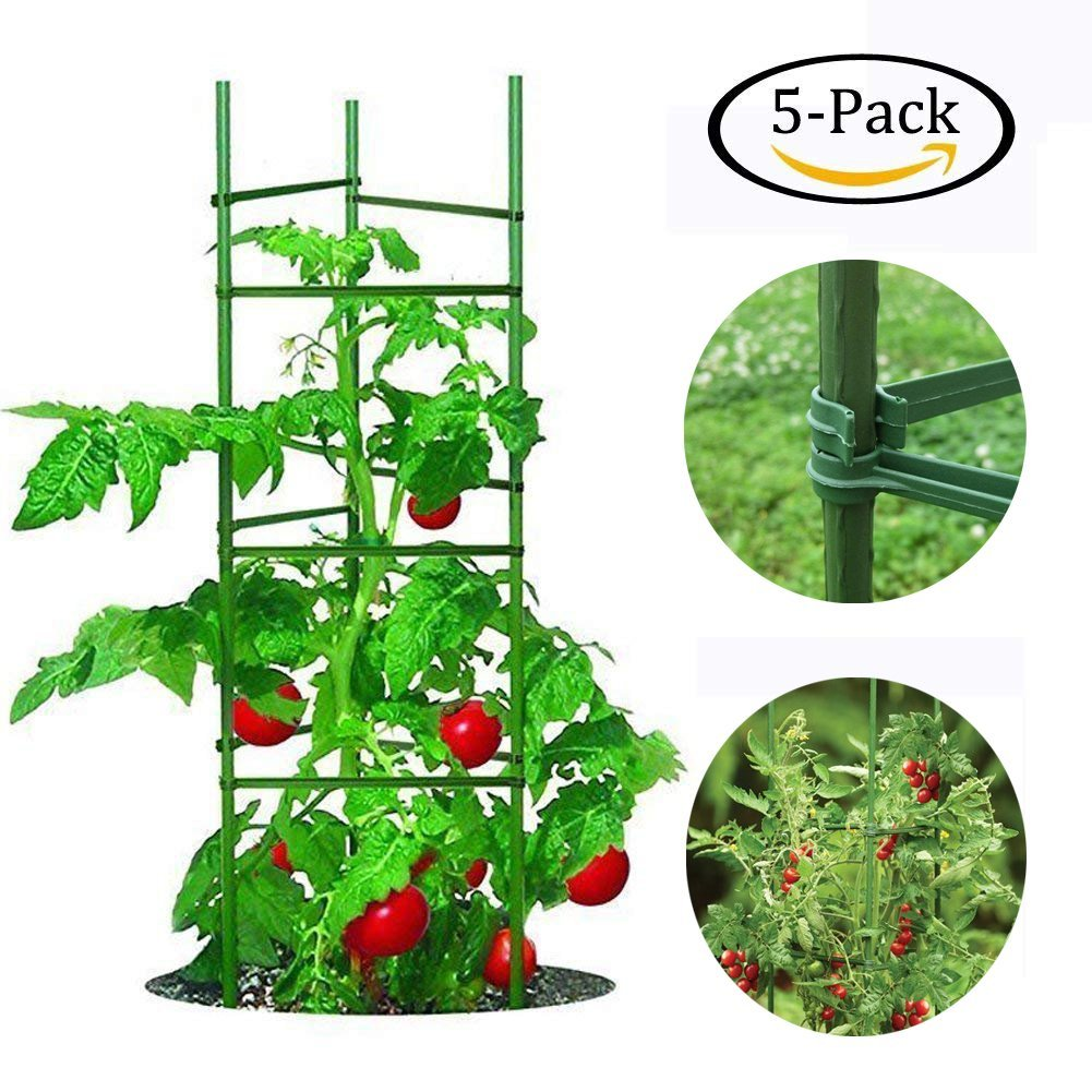 Growsun 5-ft Tomato Supports Cage Plant Garden Stakes,5 Pack per Set