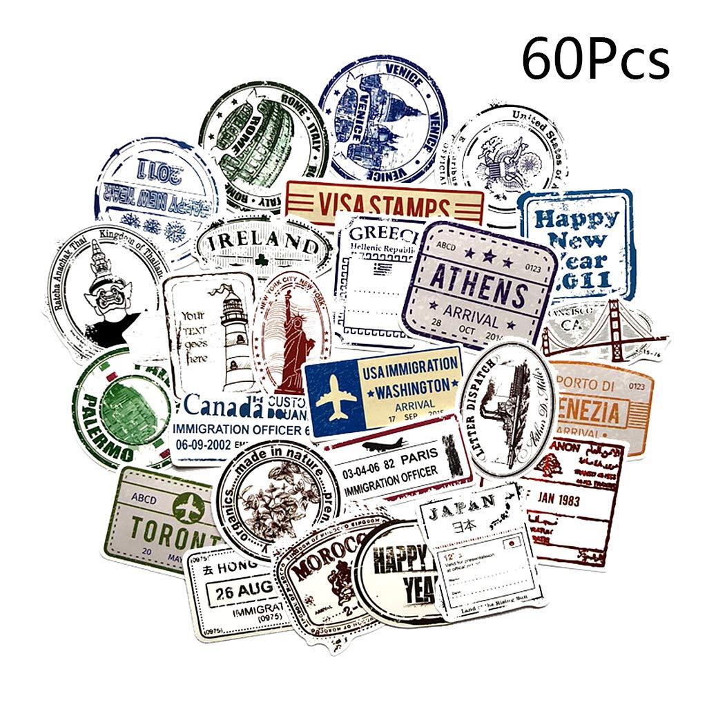 chenpaif 60Pcs Vintage Graffiti Francobolli Paper Sticker Travel Mano Conto Notebook Phone Case Scrapbook Decorazioni Regali retr/ò Turismo