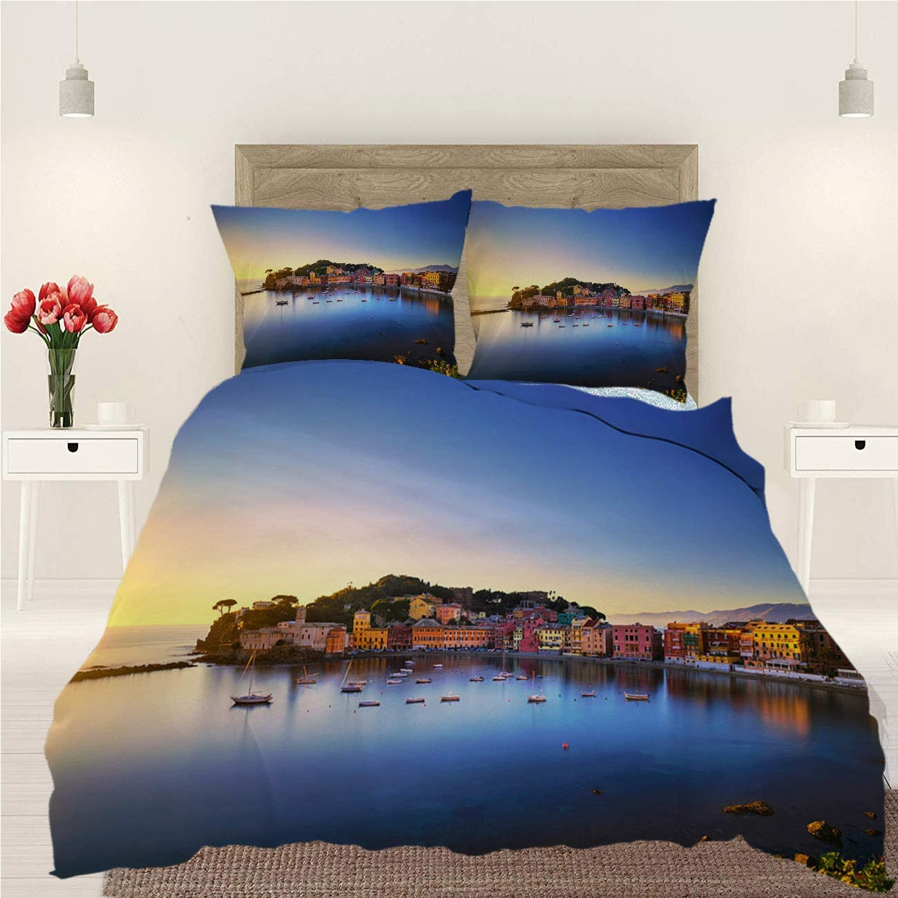 BEISISS Sunset 3 Piece Bedding Duvet Cover Set,Sestri Levante Silence Bay Sea Harbor Beach View On Sunset,Luxury Quality Soft Lightweight Durable Bedding Sets,Full
