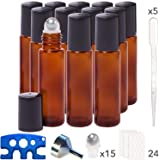 Pure Acres Farm, 12, Amber, 10 ml Glass Roll-on Bottles with Stainless Steel Roller Balls. 3 ml Droppers included