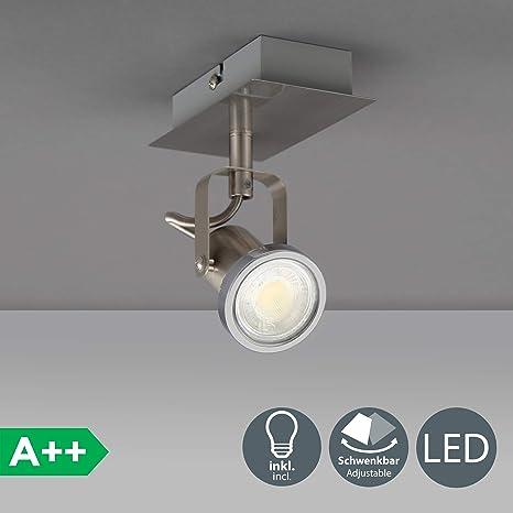 Lámpara led de pared orientable incl. 1 luz de 5W GU10, lámpara de techo led, lámpara de pared foco led para el techo lámpara led proyector leds para ...