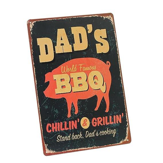 kentop Retro Cartel de chapa Dad s BBQ Póster Cartel para pared placa para puerta metal Publicidad Pared Cartel para Pub Bar Coffee Shop Cartel para ...