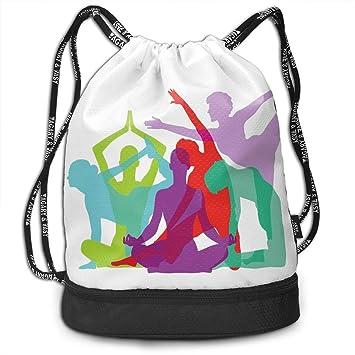 Juziwen Yoga Body Forms Poses Figures Color Drawstring Bag ...
