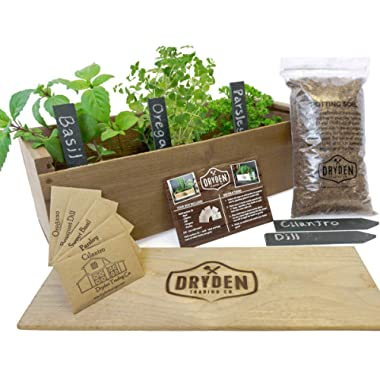 Indoor/Outdoor Herb Garden Kit - Classic Wood Planter Box with Herb Seeds, Plant Stakes and Expanding Wondersoil - 16  Long x 6  Wide x 6  Tall (Will fit in windowsill up to 6  deep) -Antiqued Wood