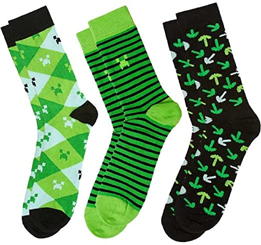 Minecraft Socks 3 Pack, Green, Small