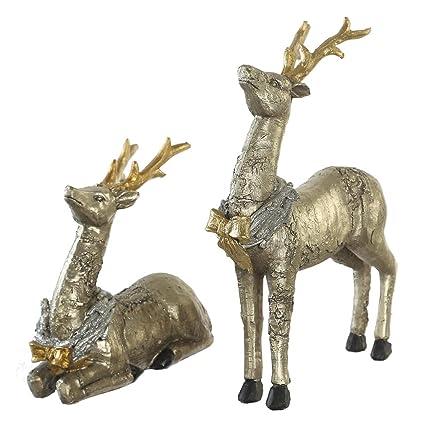 cedar home christmas reindeer table decor home decoration animals figurine sculptures elks statues moose silver - Christmas Moose Home Decor