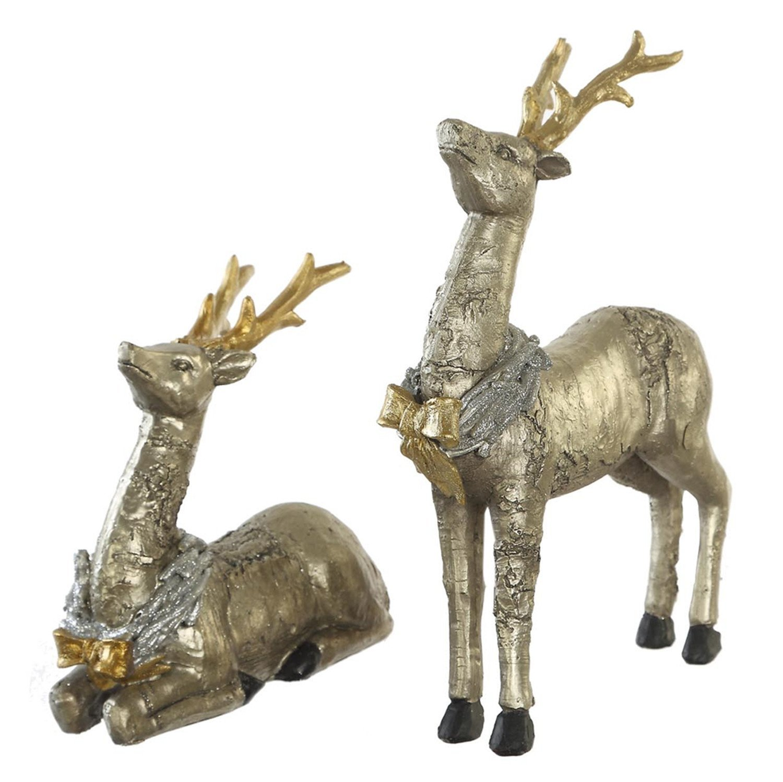 CEDAR HOME Christmas Reindeer Table Decor Home Decoration Animals Figurine Sculptures Elks Statues Moose, Silver, Set of 2