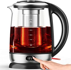 AICOOK Electric Kettle 1.7L Glass Tea Kettle, Precision Tea Maker 6 Temperature Presets with LED Display, Food Grade Stainless Steel, Auto Shut Off, BPA free