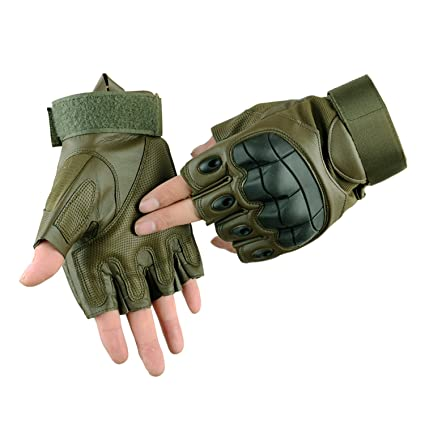 Tactical Half Finger Gloves Mens CS Army Military Combat Special Ops Fingerless