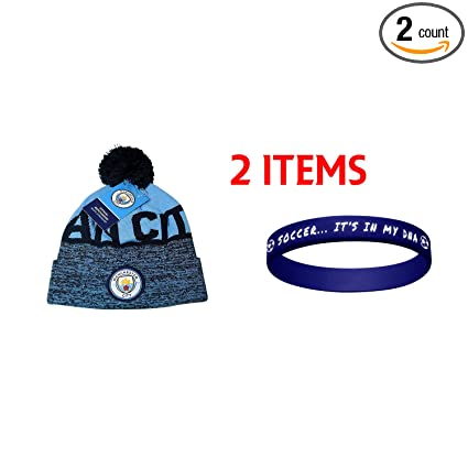 3d0b5291d67 Amazon.com   Manchester City Set Beanie Skull Cap Hat + Silicone ...