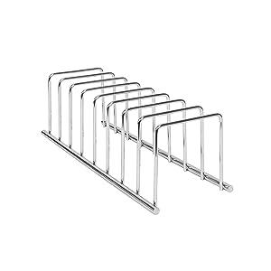 Spectrum Diversified Euro Plate Rack, Pan Lid Cutting Board Holder Kitchen Cabinet Cupboard Organizer, Chrome