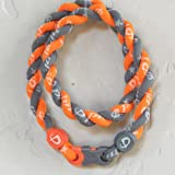 "Phiten Tornado Necklace: Bright Orange/Gray 20"" Finished Length"