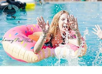 Beach Toy® - Flotador hinchable DONUT rosa, 110 cm diámetro