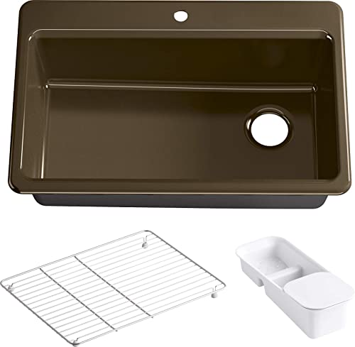 KOHLER K-5871-1A2-KA Riverby Single Bowl Top-Mount Kitchen Sink, Black n Tan