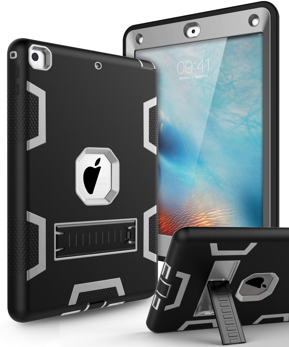 KAKA iPad 9.7 2018 Case,iPad 2018 Case,iPad 9.7 Case -[Heavy Duty]Three Layer Hybrid Shockproof High Impact Resistant Full-Body Protective Case With Kickstand for iPad 9.7 2017/2018 Model Black/Grey by KAKA (Image #1)