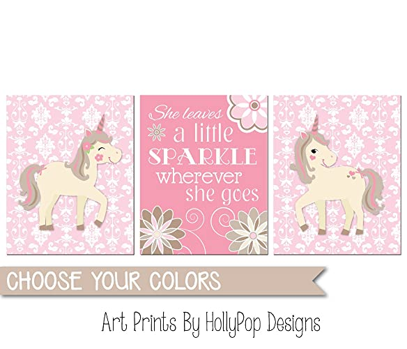 b61e65ffd Pink nursery art, Unicorn nursery decor, Baby girl wall art, Nursery art  prints