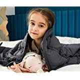 """AN Kids Weighted Blanket 7 Pounds (41"""" x 60"""", Throw Size) Perfect for 60 - 80 lbs Kids, Natural Cotton with Lead-Free Glass B"""