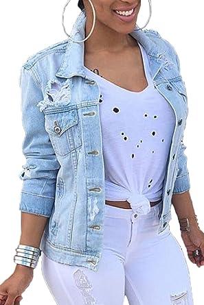5c4b85bc3186 Vosujotis Women Denim Jackets Distressed Plus Size Long Sleeve Jean Jacket  Coats Blue S