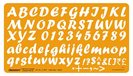 Amazon.com : Lettering Template Casual Font II Drawing Drafting Stencil Letter Size 20 mm : Office Products