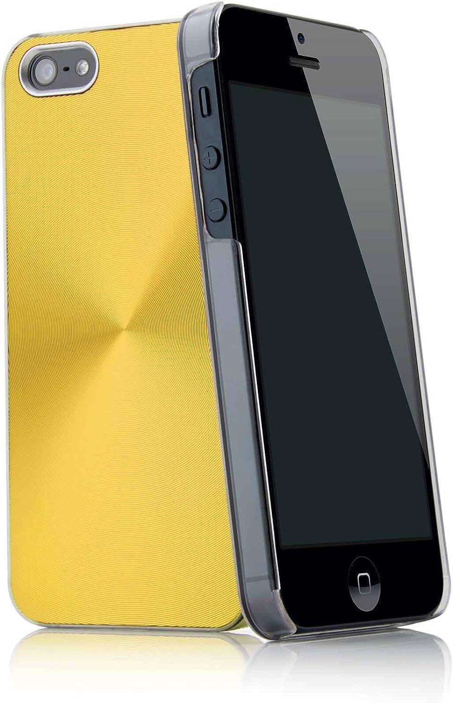 Aluminium Disc Case blau f/ür das iPhone 5 5S SE D/ünne leichte Schutzh/ülle aus Kunststoff mit Aluminiumschale mit CD-Effekt H/ülle Tasche Schale Bumper von MC24