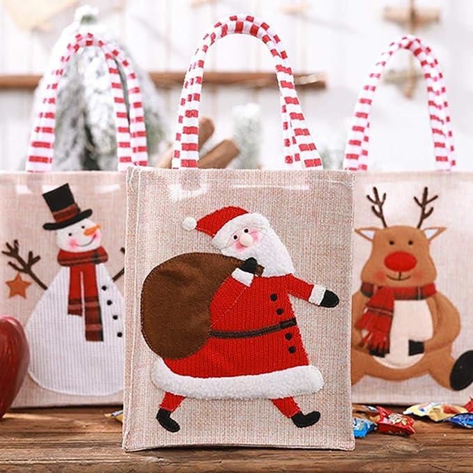 3pcs Weihnachtsgeschirr Taschen Santa Schneemann Rentier Sackleinen Besteck Inhaber Geschirr Taschen f/ür Weihnachtsfeier Dekoration