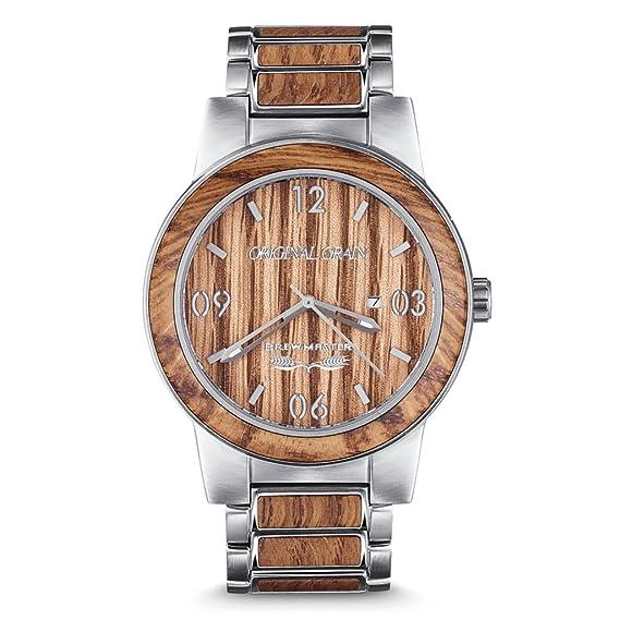 Original Grain hombres Maestro cervecero 42MM reloj con cepillado banda de madera roble de plata y