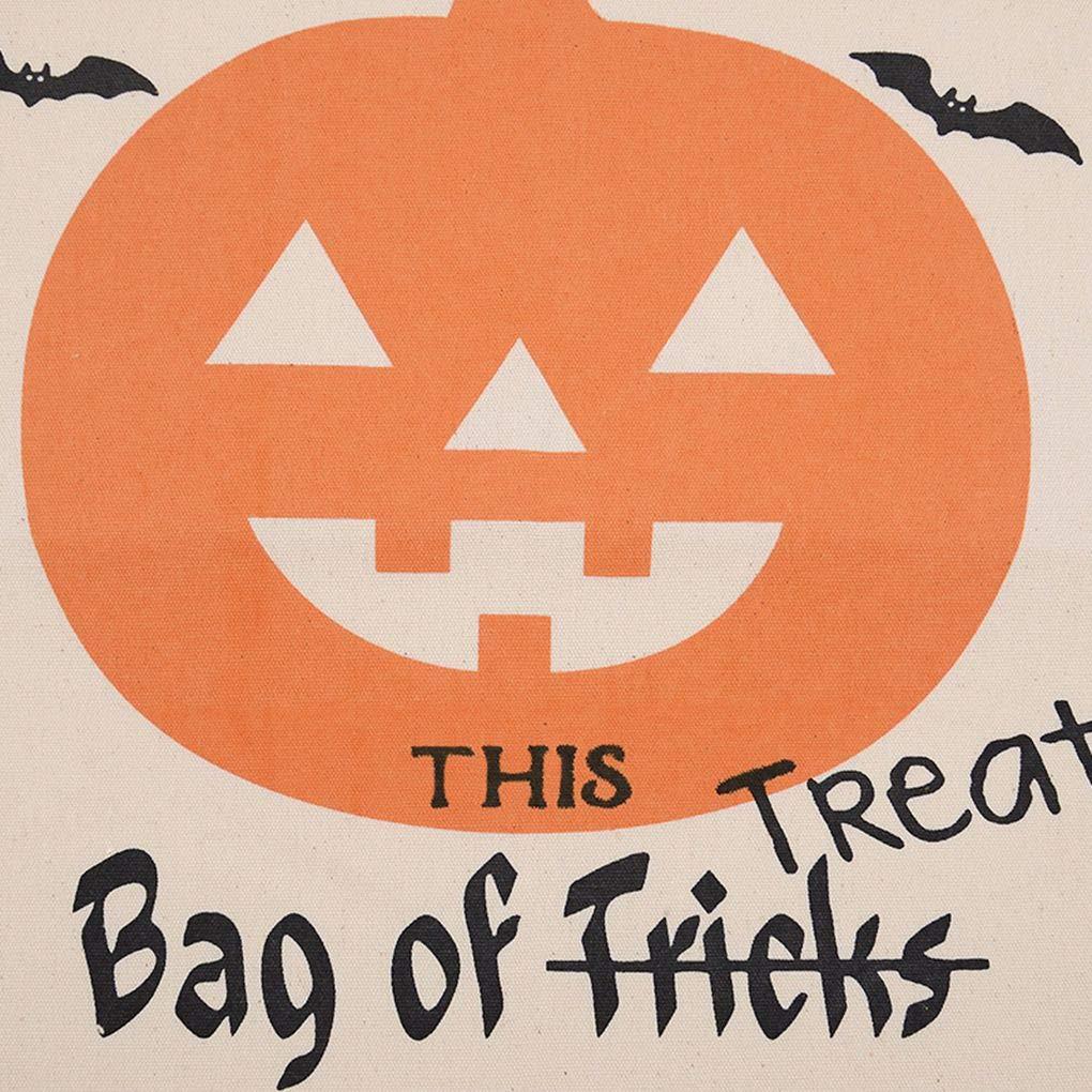 Laileya La decoraci/ón de Halloween con cord/ón trav/és de babor Saco de Lona de Halloween Impresi/ón Bolsas Truco o Bolsos de Calabaza con decoraci/ón