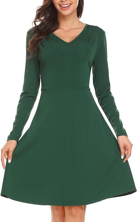 Burlady Damen Casual Langarm Samt Solid A Linie Plissee Saum Sexy Swing Kleid Amazon De Bekleidung