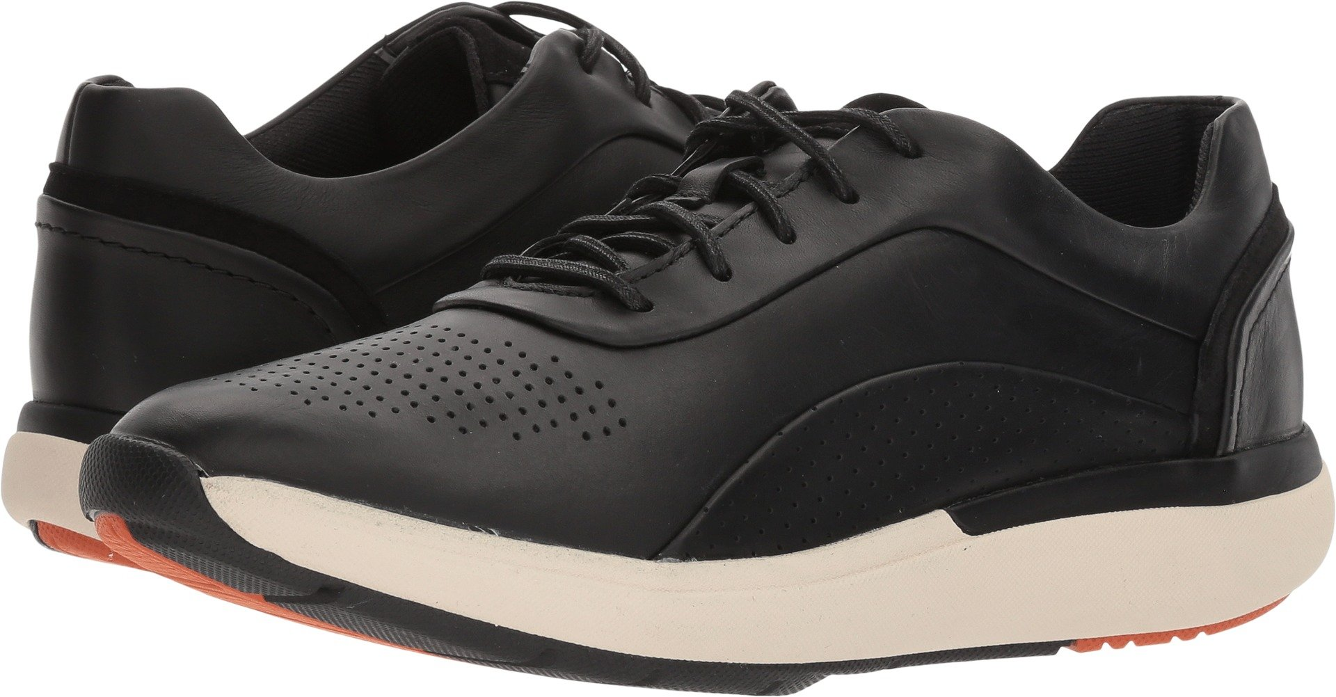 CLARKS Womens Un Cruise Lace (Wave) Sneaker, Black Leather, Size 7.5