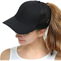 a5913597fe6 Womens Ponytail Messy High Buns Mesh Trucker Ponycaps Plain Baseball Cap  Dad Hat Adjustable Size