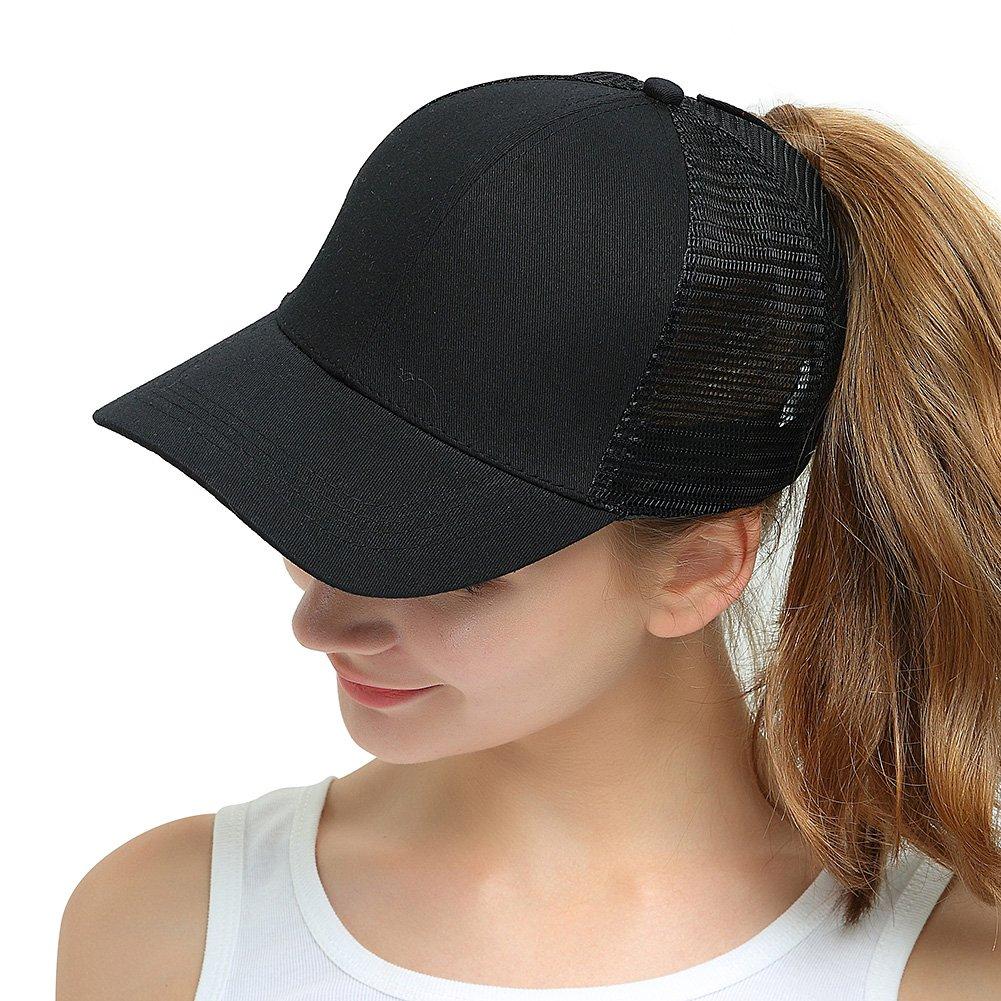 Womens Ponytail Messy High Buns Trucker Ponycaps Plain Baseball Visor Cap Dad Hat Adjustable Snapback