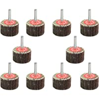 """TOVOT 10 PCS 1 1/2"""" by 1"""" by 1/4"""" Mounted Shank Flap Wheels with 1/4"""" Mandrel"""