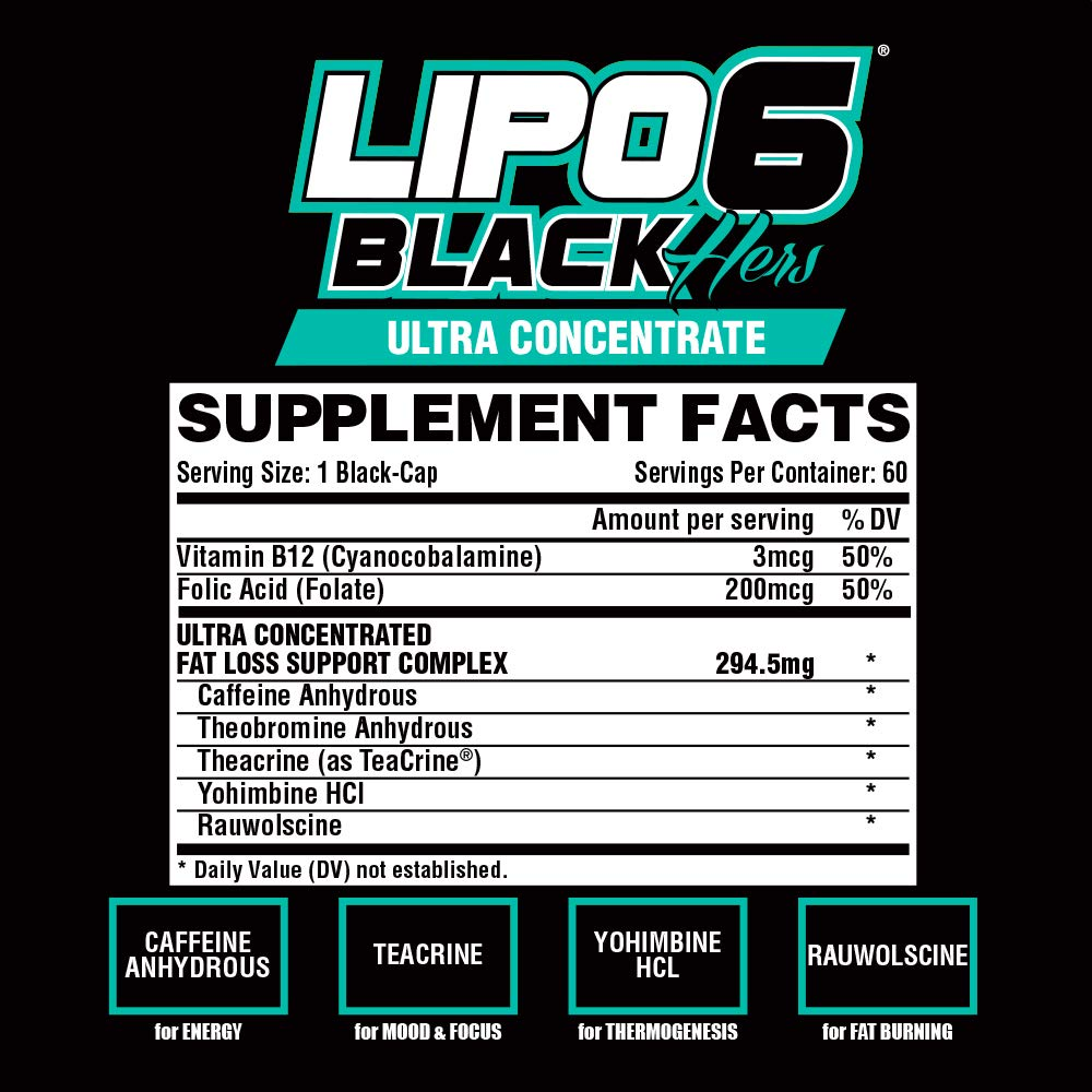 Nutrex Research Lipo-6 Black Hers Ultra Concentrate | Fat Burner Pills for Women | Hair, Skin, Nails Support | 60Count by Nutrex Research (Image #3)
