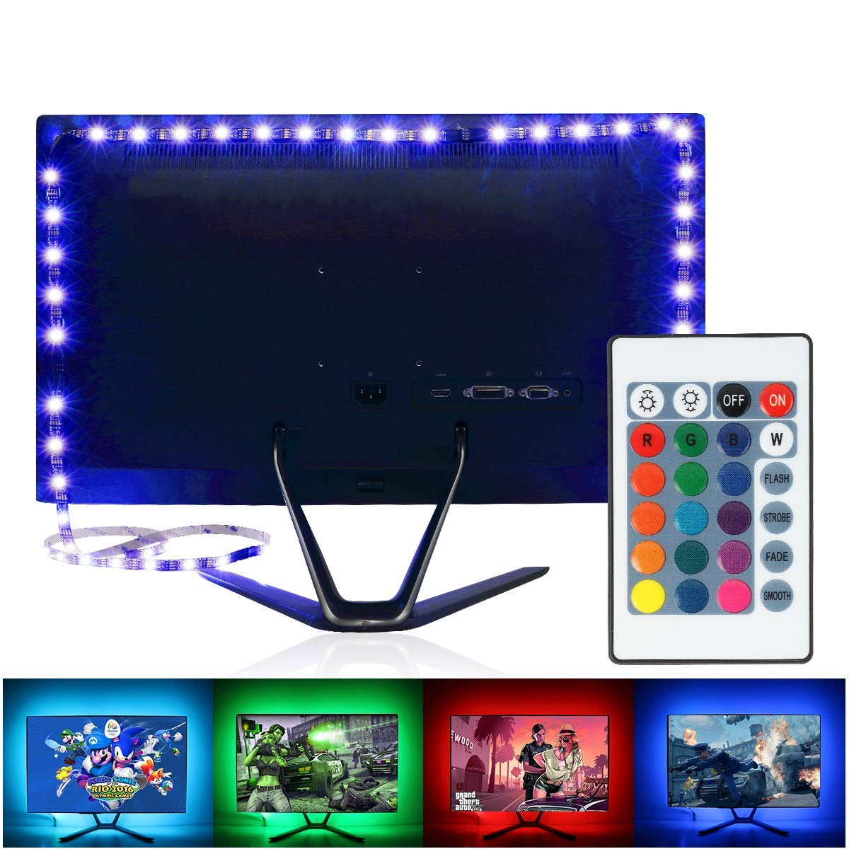 VXVLD LED Strip Lights LED TV Backlight 2M/6.56ft RGB Neon Accent LED Lights Strips for 40 to 60 in HDTV Neon Light Bias Lighting with Remote, USB LED Strips for TV Backlight