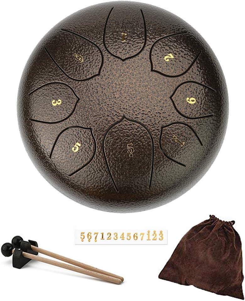 Tambor con leng/üeta de acero Instrumento de percusi/ón de 6 pulgadas Tambor panor/ámico 8 Notas Tambor de tanque con bolsa de viaje acolchada y mazos de tambor