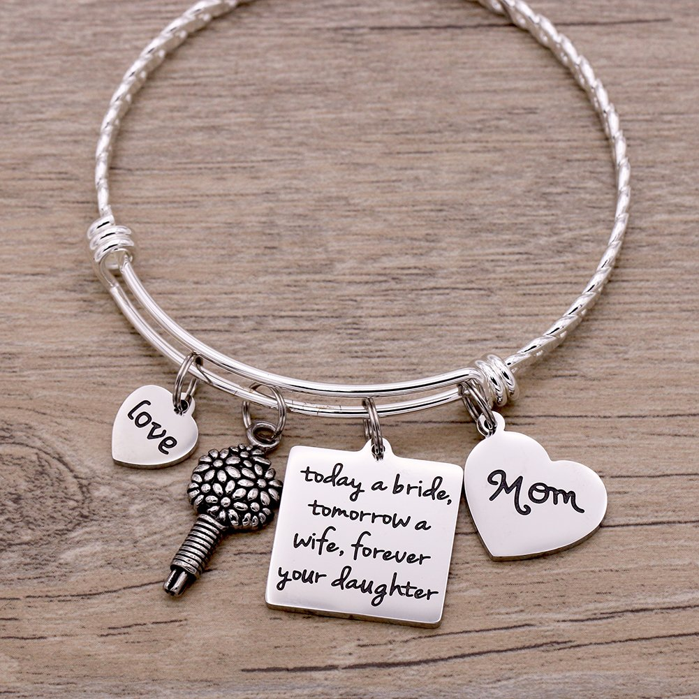 Melix Home Today A Bride Tomorrow A Wife , Forever Your Daughter , Mom Braccelet (White) by Melix Home (Image #4)