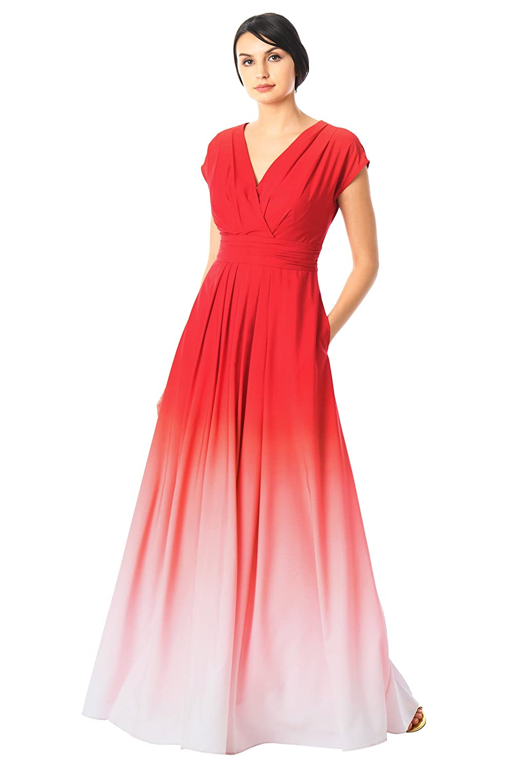 eShakti Womens Ombre print crepe surplice maxi dress: Amazon.co.uk: Clothing