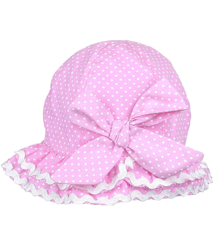 Baby Girls pink white spotty cloche sun hat 6-12-18 months