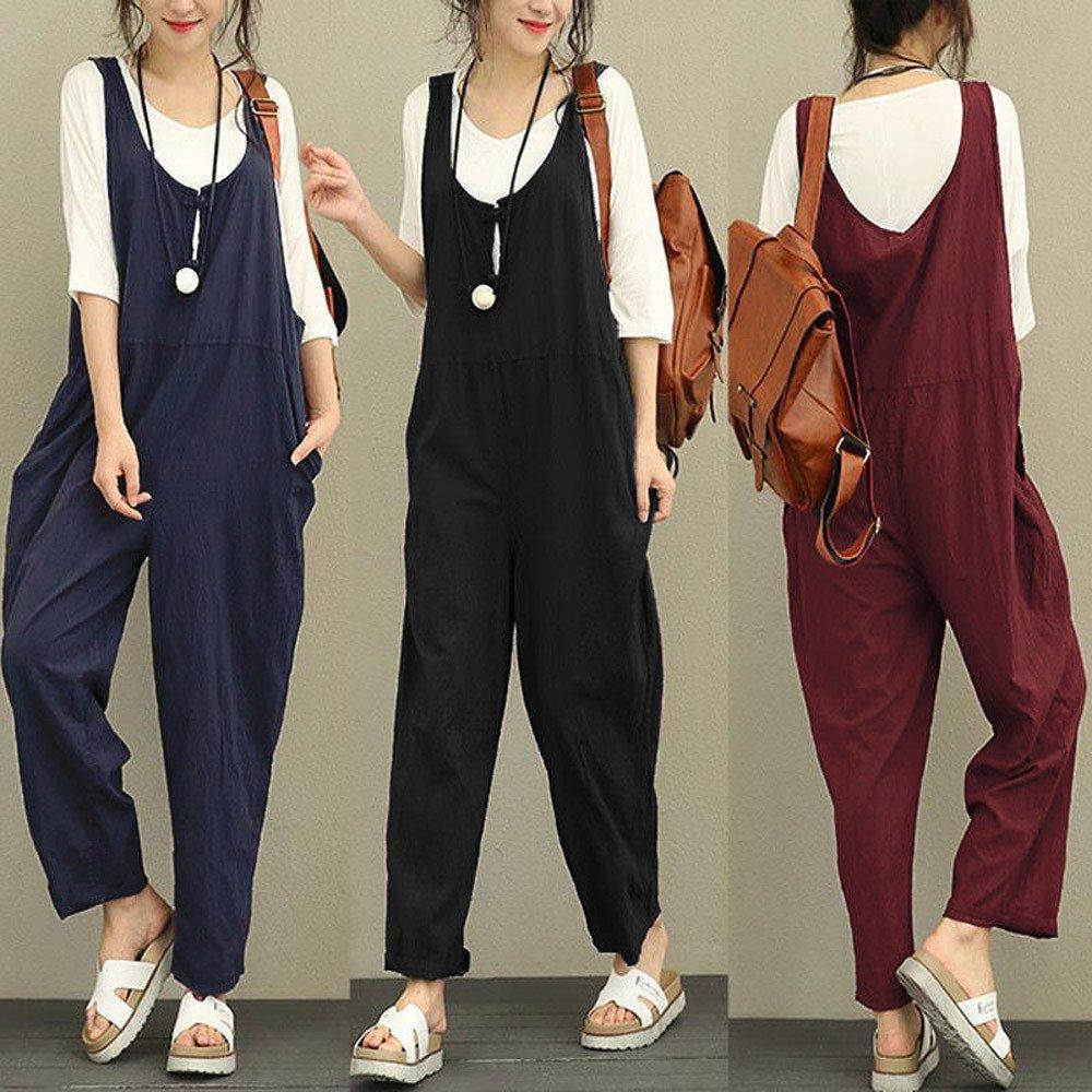 e17f43ca8ba Rovinci Women s Clothing Womens Jumpsuit Loose Cotton Long Playsuit  Jumpsuit Pants Trousers Dungarees Jumpsuit  Amazon.co.uk  Clothing